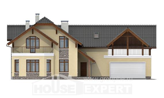 255-003-R Two Story House Plans with mansard roof with garage in front, cozy Cottages Plans