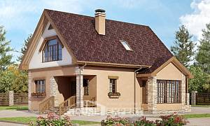140-002-R Two Story House Plans and mansard, economical Home House