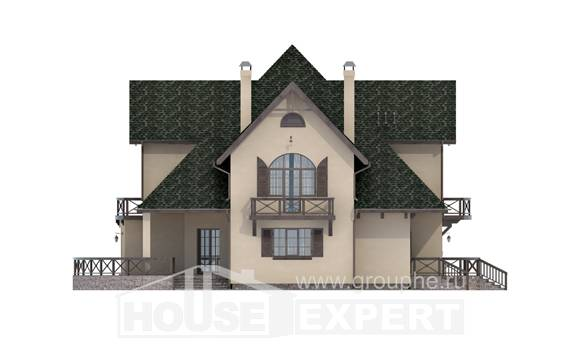 350-001-R Two Story House Plans with mansard with garage in front, a huge Villa Plan