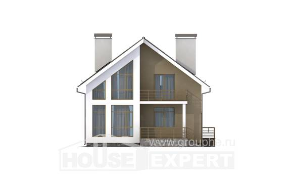 170-006-L Two Story House Plans with mansard roof, inexpensive Blueprints,