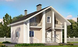 150-002-R Two Story House Plans and mansard with garage under, best house Architect Plans