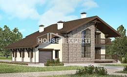 280-001-R Two Story House Plans and mansard with garage under, cozy Custom Home,