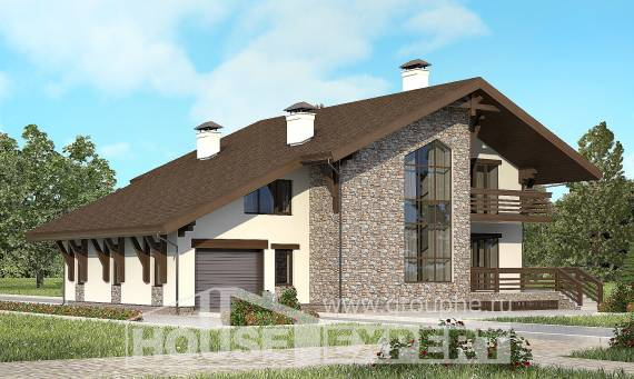 280-001-R Two Story House Plans with mansard with garage, spacious House Blueprints,