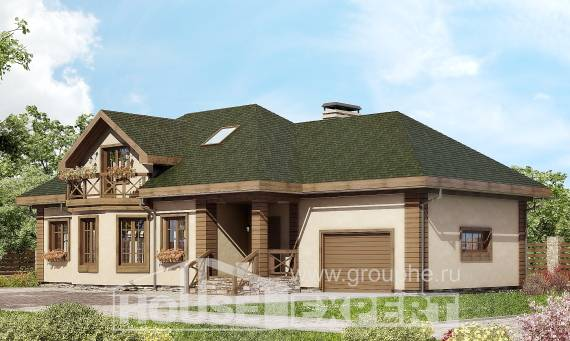 180-010-R Two Story House Plans and mansard and garage, cozy Architects House,