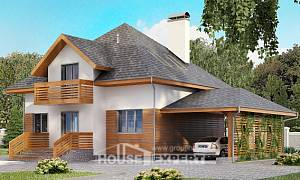 155-004-R Two Story House Plans and mansard with garage in front, beautiful Home House