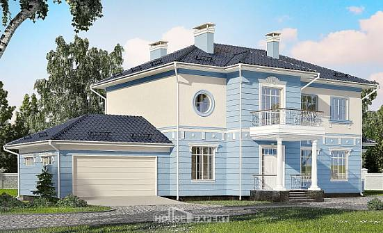 285-003-L Two Story House Plans with garage in front, modern Ranch,