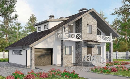 180-017-L Two Story House Plans with mansard roof and garage, cozy Cottages Plans,