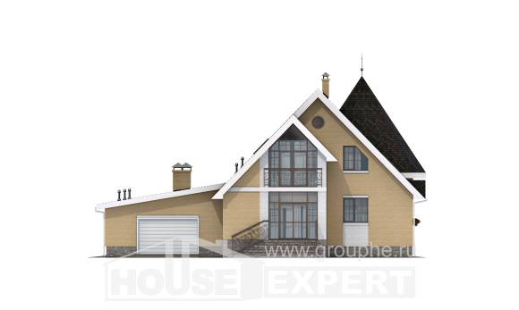 250-001-L Two Story House Plans and mansard with garage under, best house Blueprints,