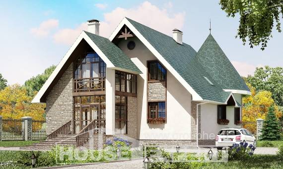 170-003-L Two Story House Plans and mansard, compact Home Blueprints, House Expert