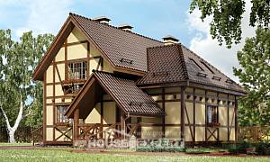 160-003-R Two Story House Plans with mansard, compact Architect Plans