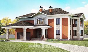 400-002-L Two Story House Plans with garage in front, luxury Custom Home Plans Online