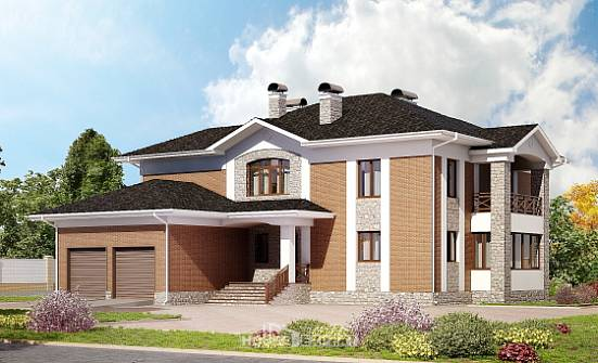 520-002-L Three Story House Plans with garage in front, classic Drawing House,