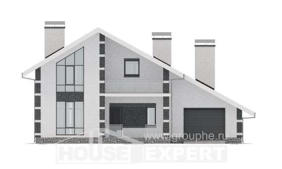 190-008-R Two Story House Plans and mansard with garage in back, modern Architectural Plans, House Expert