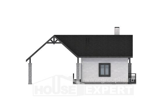 060-001-R Two Story House Plans with mansard with garage under, economy Cottages Plans, House Expert