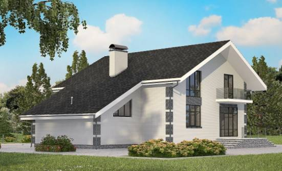 180-001-R Two Story House Plans with mansard with garage in back, inexpensive House Blueprints, House Expert