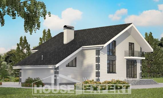 180-001-R Two Story House Plans with mansard with garage in back, inexpensive House Planes,