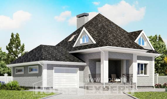 135-001-L Two Story House Plans and mansard with garage in back, inexpensive Models Plans,