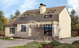 150-015-L Two Story House Plans with mansard with garage in back, inexpensive Woodhouses Plans, House Expert