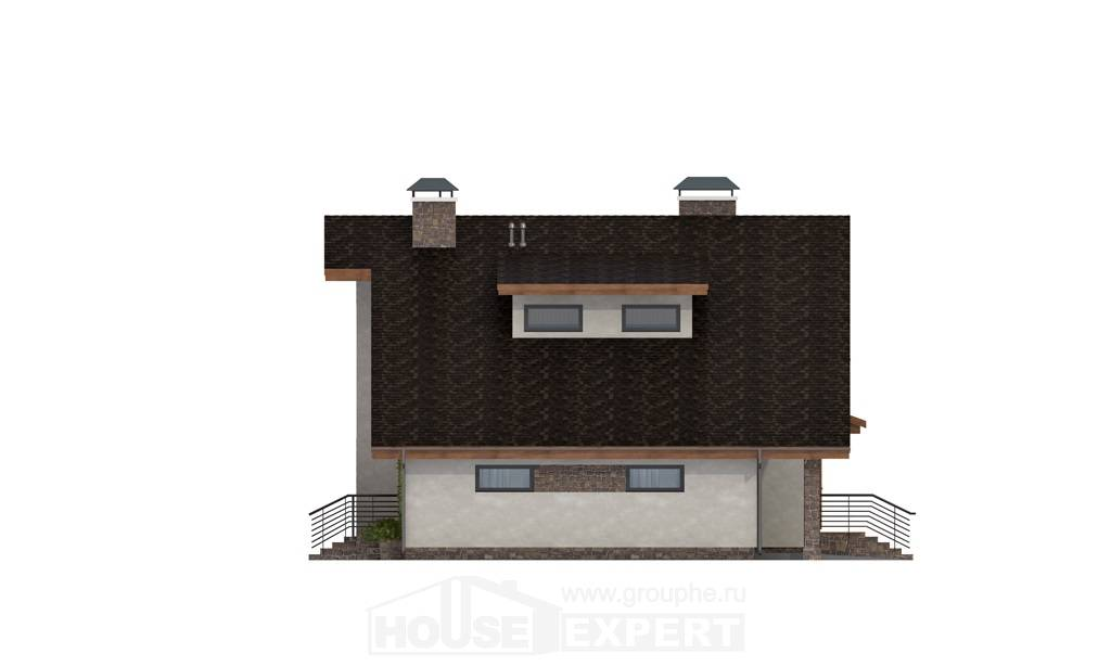 180-008-L Two Story House Plans with mansard with garage, spacious House Online,