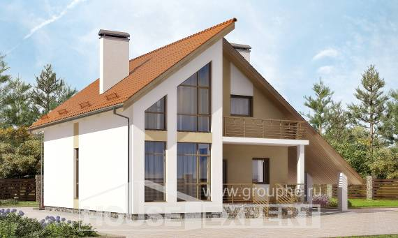 170-009-R Two Story House Plans and mansard and garage, the budget Building Plan