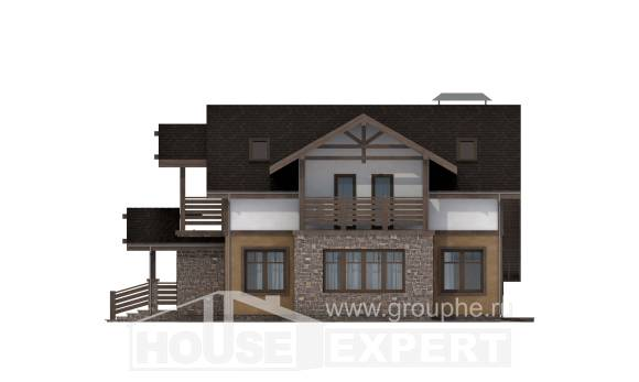 180-011-L Two Story House Plans with mansard with garage under, classic Tiny House Plans,