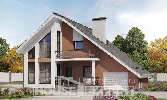 200-007-R Two Story House Plans with mansard with garage in front, spacious House Building, House Expert