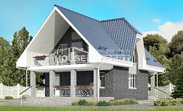 125-002-L Two Story House Plans with mansard with garage, the budget Architectural Plans,