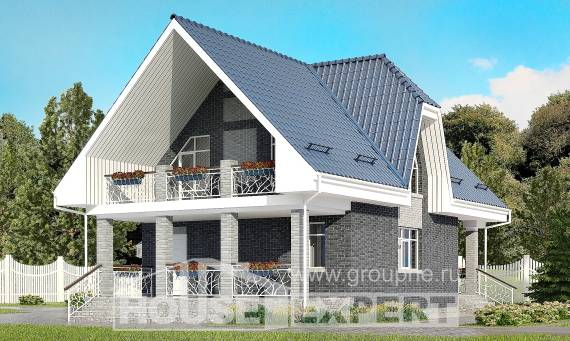 125-002-L Two Story House Plans with mansard with garage under, the budget Home Blueprints,