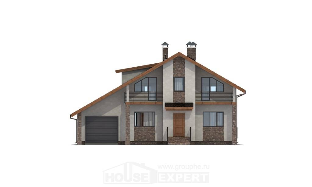 180-008-L Two Story House Plans with mansard with garage, modern Models Plans,