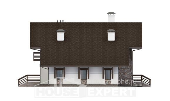 280-001-R Two Story House Plans with mansard with garage in front, cozy Villa Plan,