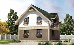 105-001-L Two Story House Plans and mansard, compact Villa Plan,