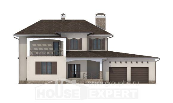 285-002-R Two Story House Plans with garage in back, big Villa Plan,