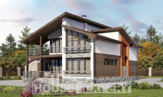 240-004-R Two Story House Plans and mansard with garage, luxury House Planes, House Expert