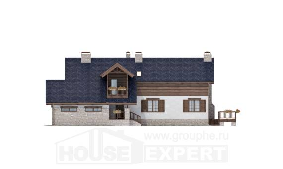 240-002-L Two Story House Plans and mansard with garage under, a simple Home Blueprints,