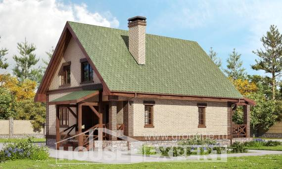 160-011-R Two Story House Plans with mansard, inexpensive Building Plan,