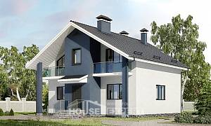 150-005-R Two Story House Plans with mansard, beautiful Blueprints