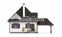 110-002-L Two Story House Plans with mansard with garage in back, modest Plan Online,