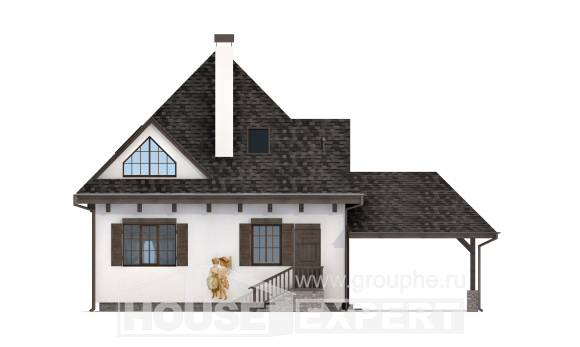 110-002-L Two Story House Plans with mansard with garage in front, compact Timber Frame Houses Plans,