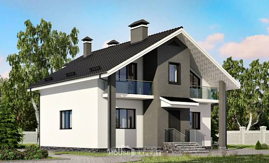 150-005-L Two Story House Plans with mansard roof, modest Architectural Plans,