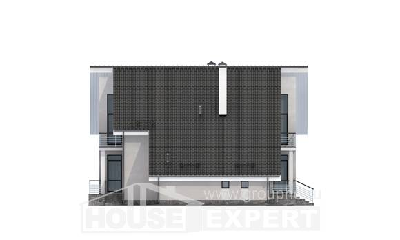 200-007-L Two Story House Plans with mansard roof with garage, a simple Drawing House