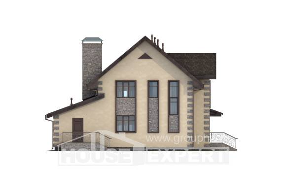 160-004-R Two Story House Plans with mansard roof with garage, inexpensive Custom Home Plans Online,