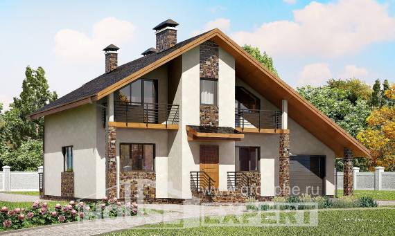 180-008-R Two Story House Plans and mansard with garage in back, spacious Ranch,