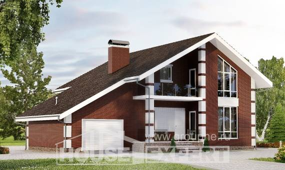 180-001-L Two Story House Plans and mansard with garage, compact Home Blueprints, House Expert