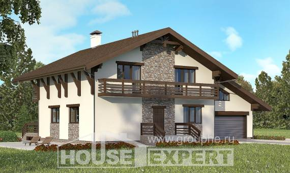 280-001-R Two Story House Plans with mansard with garage, beautiful House Building,