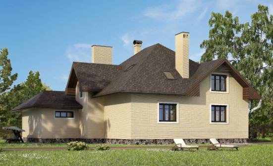 275-003-R Two Story House Plans with mansard roof with garage in back, classic Architectural Plans, House Expert