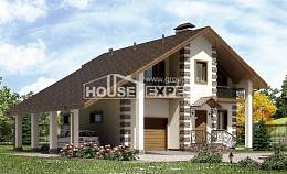 150-003-L Two Story House Plans with mansard with garage in back, beautiful Drawing House, House Expert