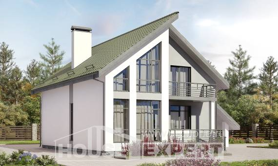 170-009-L Two Story House Plans with mansard roof with garage under, the budget Floor Plan, House Expert