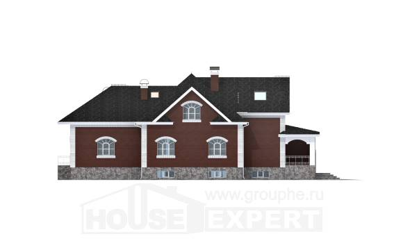 600-001-R Three Story House Plans with mansard roof with garage in back, classic Floor Plan, House Expert