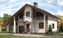 150-003-L Two Story House Plans and mansard with garage in back, cozy Home Blueprints, House Expert