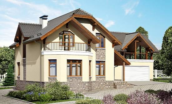 255-003-R Two Story House Plans with mansard with garage under, big Plans Free,
